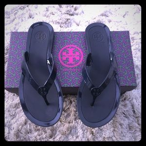 Tory Burch navy jelly sandals